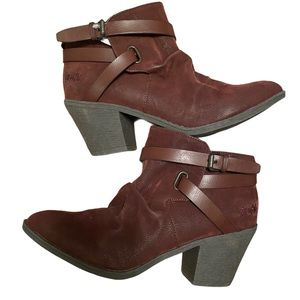 NWOT Blowfish burgundy slouchy ankle strap bootie